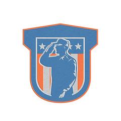 Metallic Miilitary Serviceman Salute Side Crest