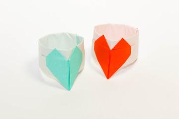 折り紙の指輪-青と赤