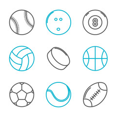 Simple trendy sport icons set