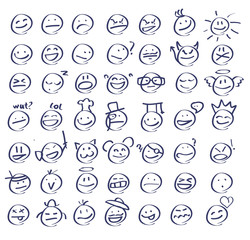 Handdrawn emoticons/smiley faces