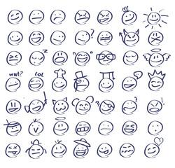 Handdrawn emoticons/smiley faces