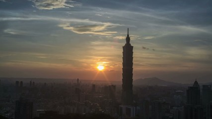 Time lapse of Nice view of Taipei night, Taiwan