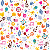 nature love harmony fun cartoon seamless pattern - 66591507