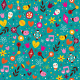 nature love harmony fun characters seamless pattern - 66591560