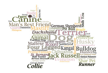 Dog breed Canine Word Cloud Typography Illustration Concepts