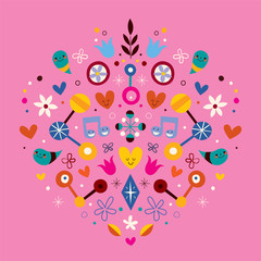 nature love harmony heart abstract art vector illustration