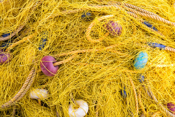 Yellow fishing net on a boat