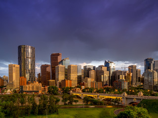 Calgary skyline at night with Bow River