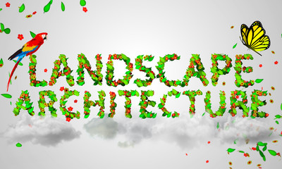Landscape Architecture leaves particles 3D
