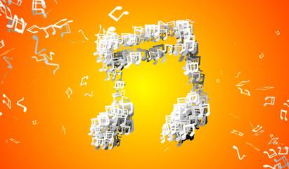 Orange Musical Note Particles 3D