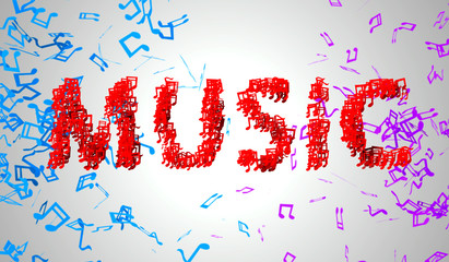 Red Music Musical Note Particles 3D