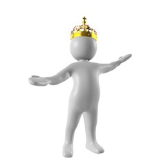 3d man wear a crown opening his arms
