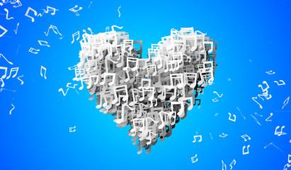 Love Blue Musical Note Particles 3D