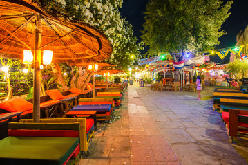 KOS, GREECE - JUNE 7, 2014: City streets at night. Kos ia a very