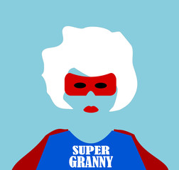 super hero granny wearing cape and mask