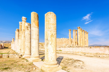 Columns and the Temple of Artemis in Jerash, Jordan