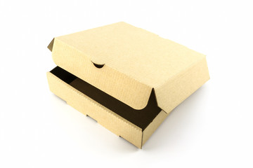 Cardboard pizza box.