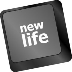 black keyboard keys with new life words
