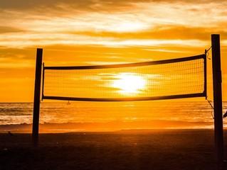 sun caught in volleyball net