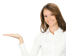 Businesswoman showing something or holding