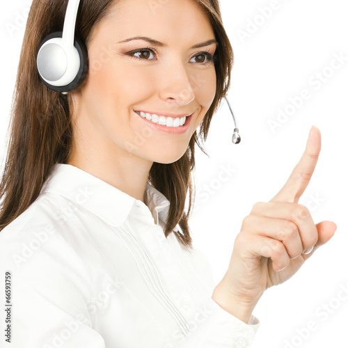 Phone operator pointing at something, isolated