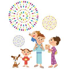 花火を見る幸せ家族