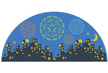 都会の夜の花火大会