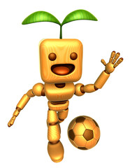 3D Wood Doll Mascot is a powerful Football playing. Wooden Ball