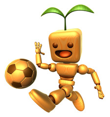 3D Wood Doll Mascot dribbled the ball towards the goal with spee