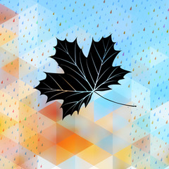 Geometric background card with maple leaf. EPS 10