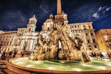 Rome. Navona Square on a beautiful summer night