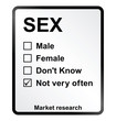 Monochrome market research sex sign