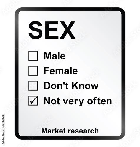 Monochrome market research sex sign