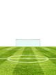 Fussballfeld mit weissem Hintergrund