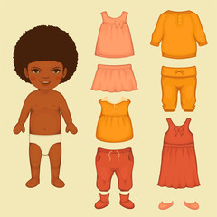 baby girl fashion , paper doll, isolated clothing icons