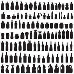 bottle icon collection,  vector isolated silhouette of package