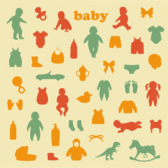 vector collection of  baby icons, child isolated  silhouette