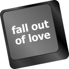 Modern keyboard key with words fall out in love