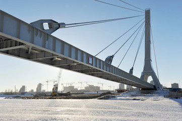 cable-stayed pipeline in St. Petersburg in winter