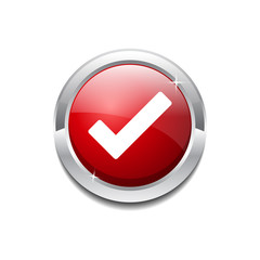 Tick Mark Circular Red Vector Web Button Icon