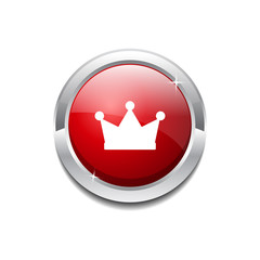 Crown Circular Vector Red Web Icon Button
