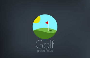 Golf club emblem vector logo design. Golf fields icon