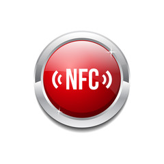 NFC Circular Vector Red Web Icon Button