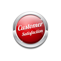 Customer Satisfaction Red Vector Icon