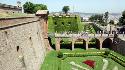 View of Montjuic Castle in summer. Barcelona, Spain