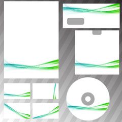 Green swoosh liquid wave stationery set template