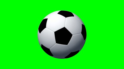 Soccer ball rotates - green screen