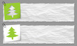 set of two banners with crumpled paper and tree