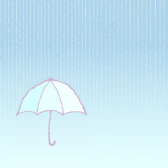Simple umbrella under the rain - vector eps 10
