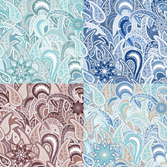 Set of Four Seamless Pattern with Paisley.